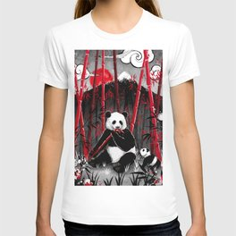 Red Bamboo Panda T-shirt