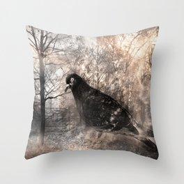 Black bird and the foggy path Throw Pillow