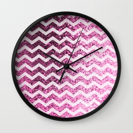 Glitter Sparkly Bling Chevron Pattern (pink) Wall Clock