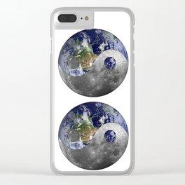 Moon & Earth Yin Yang Clear iPhone Case