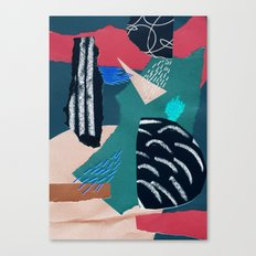 paper collage with embroidery Canvas Print