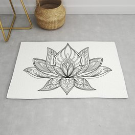 Lotus Line Drawing Rug