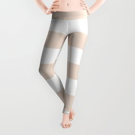 Champagne pink - solid color - white stripes pattern Leggings
