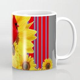 YELLOW SUNFLOWERS RED CARDINAL GREY  ART Coffee Mug