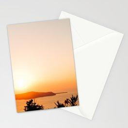 Sunset on Oia Greek Islands Greece Stationery Cards