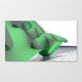 Waving Math Surface Green Canvas Print