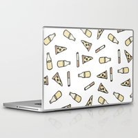 cigarettes Laptop & iPad Skins featuring PIZZA, BEER, CIGARETTES by STUPIDGUMMIDREAMS
