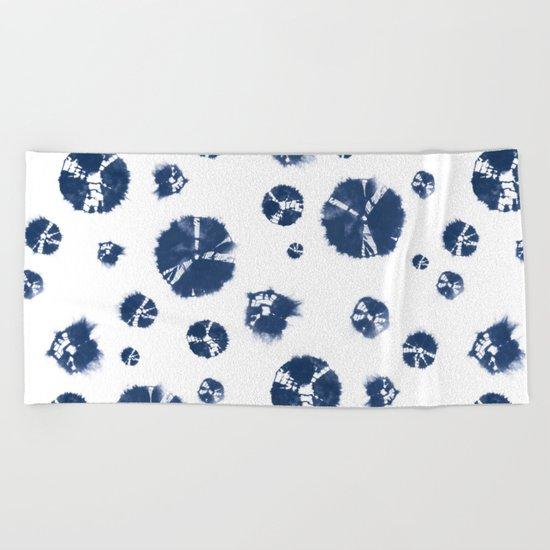 Shibori Polka Splotch Indigo Blue Beach Towel