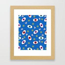 Hungry - eyes retro grid throwback 1980s minimal modern pattern print wacko designs neon Framed Art Print