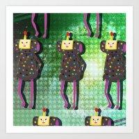 katamari Art Prints featuring Katamari Cousins - Dipp by cakeisforrobots
