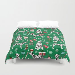 Dalmatian dog breed christmas holiday presents candy canes dalmatians dogs Duvet Cover