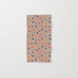 Cat Pattern | Light Brown Background | Cats Illustration Hand & Bath Towel