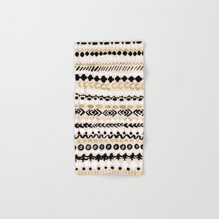 Black, White & Gold Tribal Hand & Bath Towel
