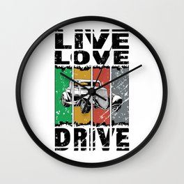 Live Love Drive - Classic Roadster - Great Gift For The Classic Auto Lover - Retro Colors & Black Logo Design - Distressed Look Wall Clock