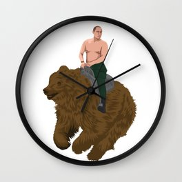 Vladimir Putin riding a russian bear Wall Clock