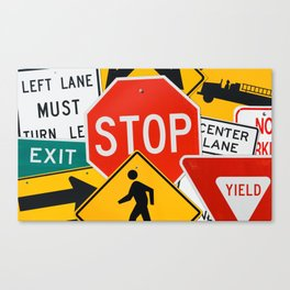 Road Traffic Sign Collage Canvas Print