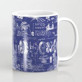 Da Vinci's Sketchbook // Dark Blue Coffee Mug