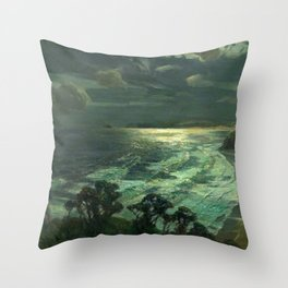 Midnight Moonlight, St Ives' Bay nautical coastal landscape painting by Julius Olsson Throw Pillow