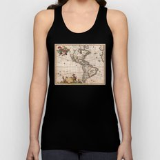 1658 Visscher Map of North & South America with enhancements Unisex Tank Top
