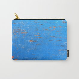 Blue Weathered Painted Wood Board Carry-All Pouch