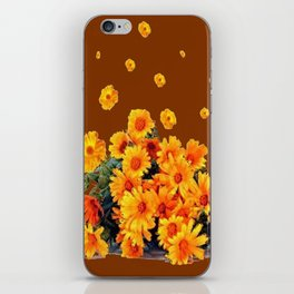COFFEE BROWN SHOWER GOLDEN FLOWERS iPhone Skin
