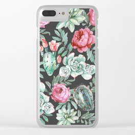 Pink Roses and Succulent Cactus Pattern on Black Clear iPhone Case