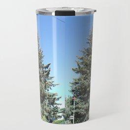 Colorado Blue Spruce, front yard, doubled Travel Mug