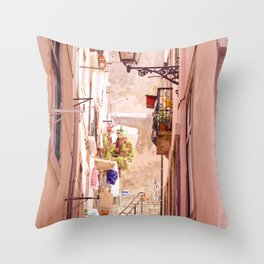 the narrow street in lisbon Throw Pillow