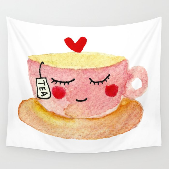 You are my cup of tea - watercolor doodles Wall Tapestry