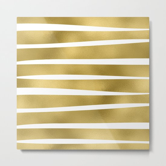 Gold unequal glitter stripes on clear white - horizontal pattern Metal Print