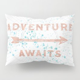 Adventure Awaits Rose Gold Pillow Sham