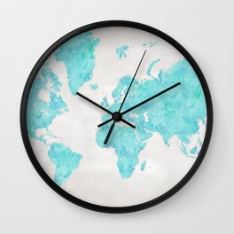 Turquoise and distressed grey world map with outlined countries Wall Clock