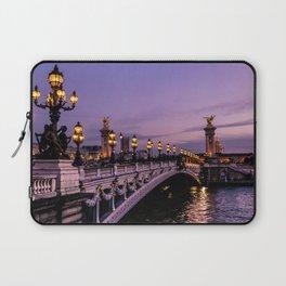 Sunset over Paris Bridge (Color) Laptop Sleeve