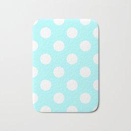 Large Polka Dots - White on Celeste Cyan Bath Mat