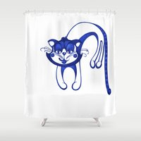 kitty Shower Curtains featuring Kitty by Amanda Silva