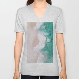 Waves spread out on the coast Unisex V-Neck