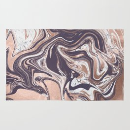 Liquid Rose Gold Violet and Marble Rug