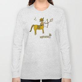 sagittarius wild horses retro zodiac art by surfy birdy Long Sleeve T-shirt