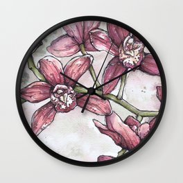 Orchids - Watercolor and Ink artwork Wall Clock