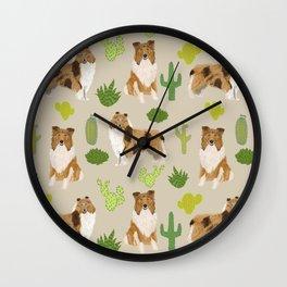 Rough Collie cactus pet portrait custom pet illustration dog breeds by pet friendly Wall Clock