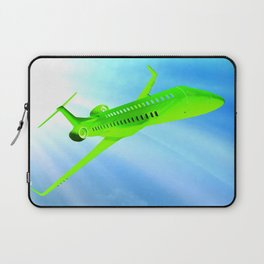 Green airplane on sunny sky Laptop Sleeve