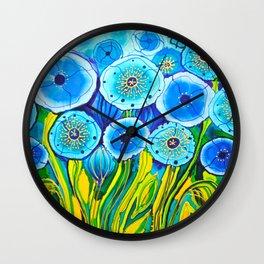 Field of Blue Poppies #1 Wall Clock