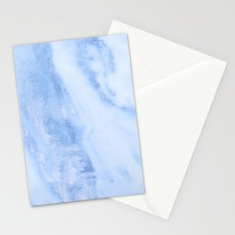 Shimmery Pure Cerulean Blue Marble Metallic Stationery Cards