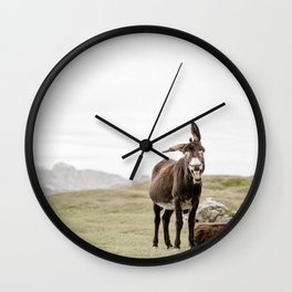 Cute smiling donkey in Seceda, near Ortisei  | Dolomites Italy travel photography Art Print Wall Clock