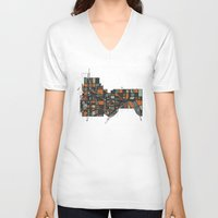 cities V-neck T-shirts featuring Twin Cities by BigRedSharks