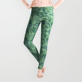 Marine Feather Pattern Ornament Leggings