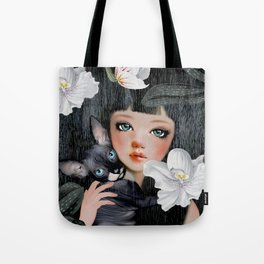 Sphynx Among Orchids Tote Bag