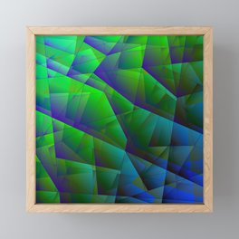 Abstract bright pattern of green and overlapping blue triangles and purple irregularly shaped lines. Framed Mini Art Print