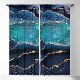 Blue Night Galaxy Marble Blackout Curtain