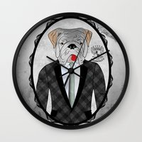 english bulldog Wall Clocks featuring Mr. Dandy - English Bulldog by Rozenblyum Couture